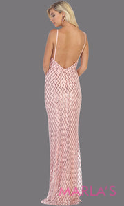 Back of Long sleek & sexy blush pink evening dress with low open back & v neck dress from mayqueen. This light pink fitted evening shiny gown with open back is perfect for prom,wedding guest dress, guest for prom, formal party, gala, black tie party