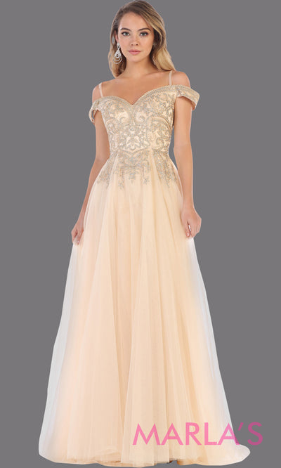 Long off shoulder champagne semi ballgown with gold lace top.This light gold flowy gown from mayqueen is perfect for prom, engagement dress, reception dress, mother of the bride, engagement photoshoot, plus size women, indowestern party dress