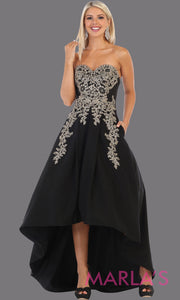 High low strapless black dress with gold lace from mayqueen, This hi lo black party dress is perfect for plus size women, wedding guest dress, black tie event, indowestern party dress, formal gown, prom, grade 8 grad, graduation
