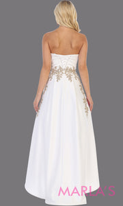 Back of High low strapless white dress with gold lace from mayqueen, This hi lo ivory party dress is perfect for plus size women, bridal wedding gown, engagement dress, engagement photoshoot, prom, grade 8 grad, wedding rehersal dress, bridal gown
