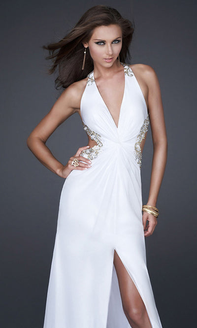 La Femme - 16288 Embellished Strap Sexy Cutout Open Back Gown In White & Ivory