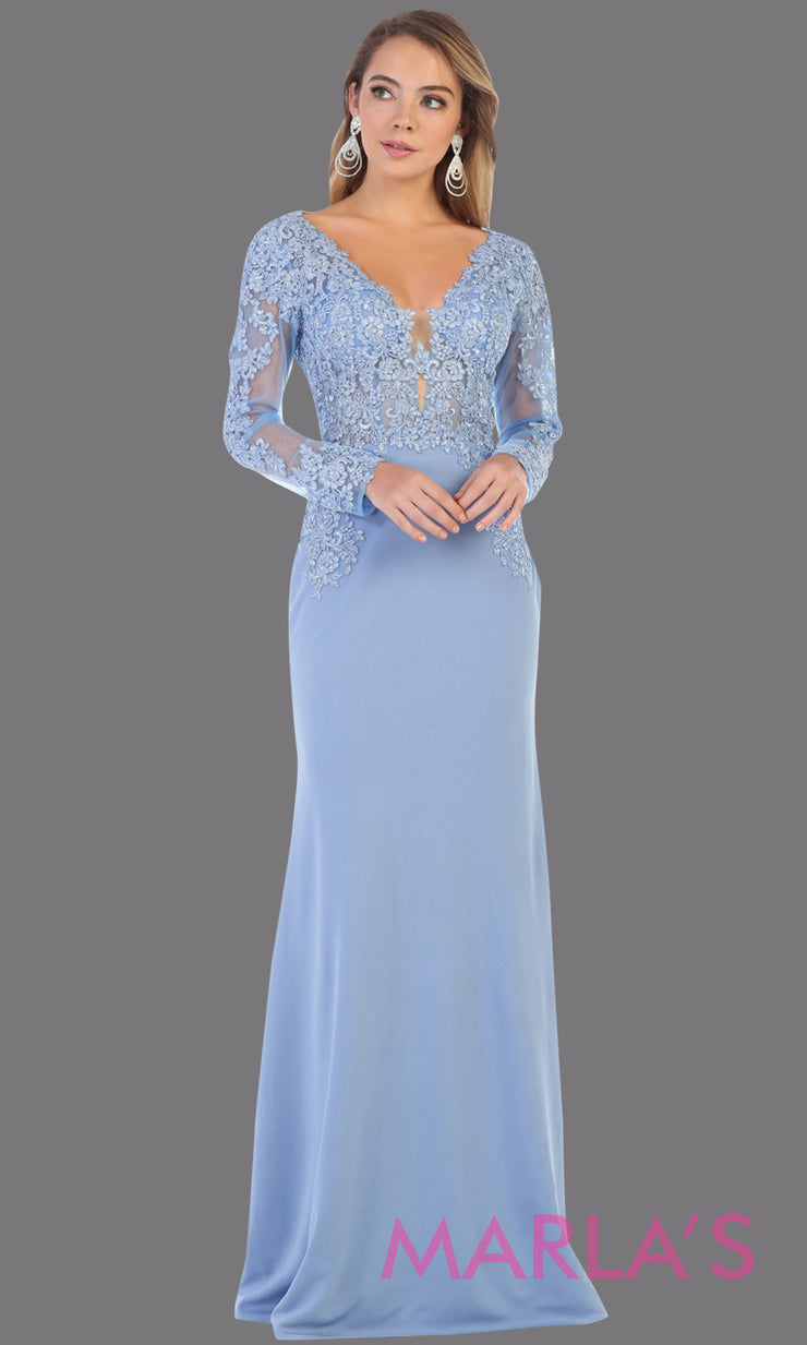 Long fitted baby blue evening dress with lace long sleeves from mayqueen. This stunning floor length light blue gown is perfect for mother of the bride, modest wedding guest dress, prom, plus size wedding guest dress, muslim party dress.jpg