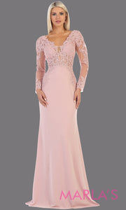 Long fitted blush pink evening dress with lace long sleeves from mayqueen. This stunning floor length light pink gown is perfect for mother of the bride, modest wedding guest dress, prom, plus size wedding guest dress, muslim party dress
