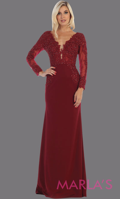 Long fitted burgundy red evening dress with lace long sleeves from mayqueen. This stunning floor length dark red gown is perfect for mother of the bride,modest wedding guest dress, prom, plus size wedding guest dress, muslim party dress