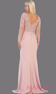 Back of Long fitted blush pink evening dress with lace long sleeves from mayqueen. This stunning floor length light pink gown is perfect for mother of the bride, modest wedding guest dress, prom, plus size wedding guest dress, muslim party dress