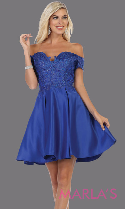 Short off shoulder royal blue grade 8 graduation satin taffeta dress with flowy skirt from mayqueen. This royal blue party dress is perfect for grade 8 grad,homecoming, Bat Mitzvah, quinceanera damas, homecoming, plus size, junior bridesmaids