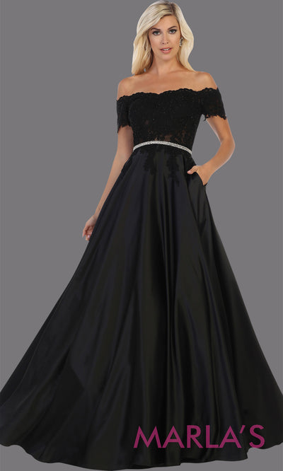 Long off shoulder black satin semi ballgown with lace top.This black flowy gown from mayqueen is perfect for prom, black tie event, wediding guest dress, formal party dress, plus size wedding guest dresses, indowestern party dress