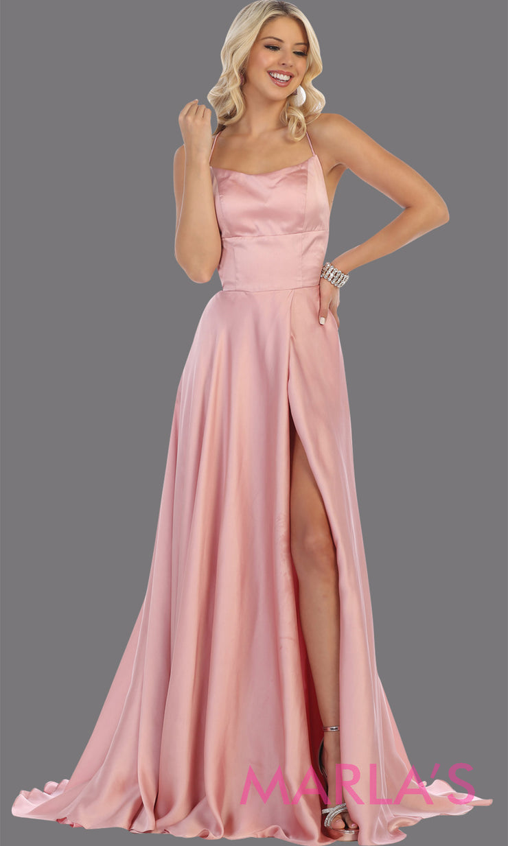 Long blush mauve satin dress with high slit & criss cross back. This is simple & sexy light pink dress from mayqueen is perfect for prom, bridesmaids, engagement dress, engagement photoshoot, eshoot, plus size party dress, wedding guest dress
