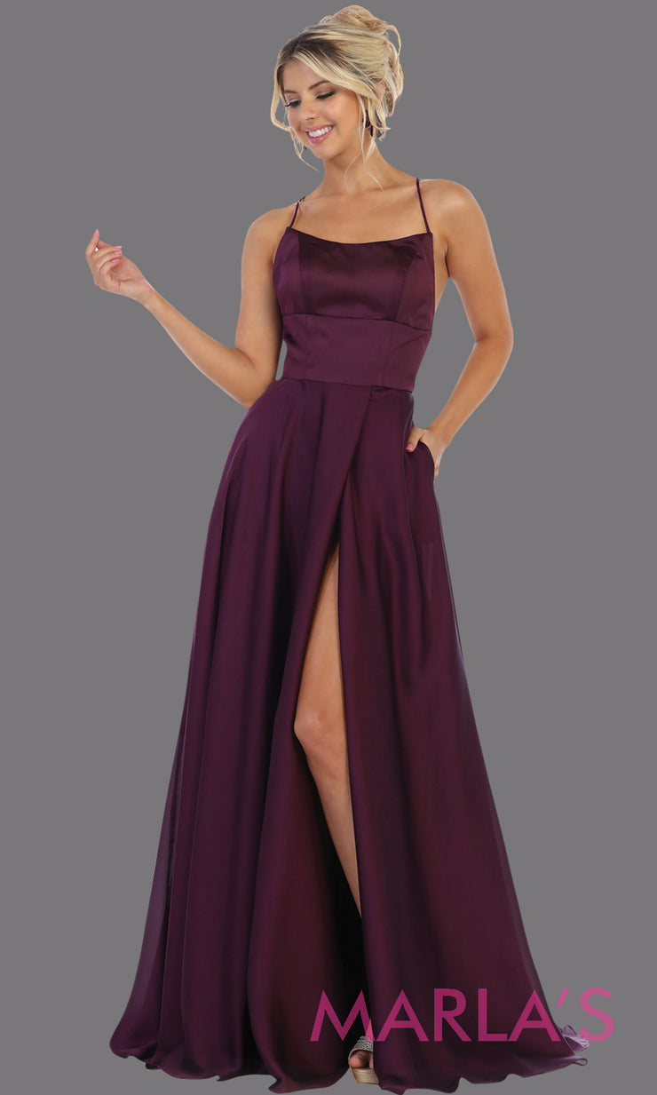 Long dark purple satin dress with high slit & criss cross back.This simple & sexy eggplant dress from mayqueen is perfect for prom, bridesmaids, engagement dress,engagement photoshoot,eshoot,plus size party dress,gala gown,wedding guest dress