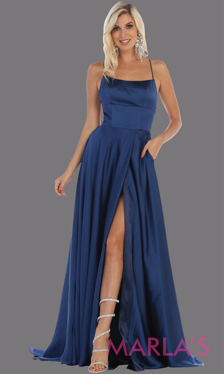 Long navy blue satin dress with high slit & criss cross back. This is simple & sexy dark blue dress from mayqueen is perfect for prom, bridesmaids, engagement dress, engagement photoshoot, eshoot, plus size party dress, wedding guest dress