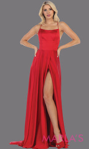Long red satin dress with high slit & criss cross back. This simple & sexy red dress from mayqueen is perfect for prom, bridesmaids, engagement dress, engagement photoshoot, eshoot, plus size party dress, red gala gown, wedding guest dress