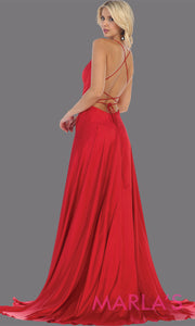 Back of Long red satin dress with high slit & criss cross back. This simple & sexy red dress from mayqueen is perfect for prom, bridesmaids, engagement dress, engagement photoshoot, eshoot, plus size party dress, red gala gown, wedding guest dress