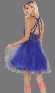 Back of Short high neck royal blue grade 8 graduation dress with puffy skirt from mayqueen.This blue high neck ballerina dress is perfect for grade 8 grad, homecoming,Bat Mitzvah,quinceanera damas,middle school graduation,plus size,junior bridesmaids