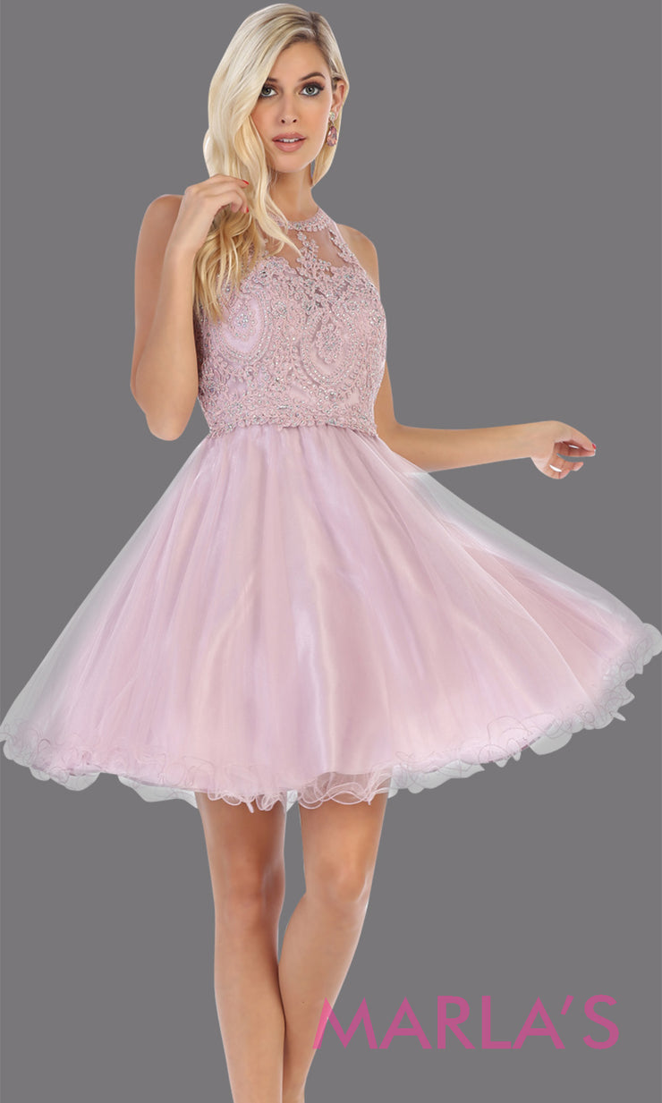 Short high neck mauve grade 8 graduation dress with puffy skirt from mayqueen.This pink high neck ballerina dress is perfect for grade 8 grad, homecoming,Bat Mitzvah,quinceanera damas,middle school graduation,plus size,junior bridesmaids