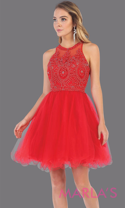 Short high neck red grade 8 graduation dress with puffy skirt from mayqueen. This red high neck ballerina dress is perfect for grade 8 grad, homecoming, Bat Mitzvah, quinceanera damas, middle school graduation, plus size, junior bridesmaids