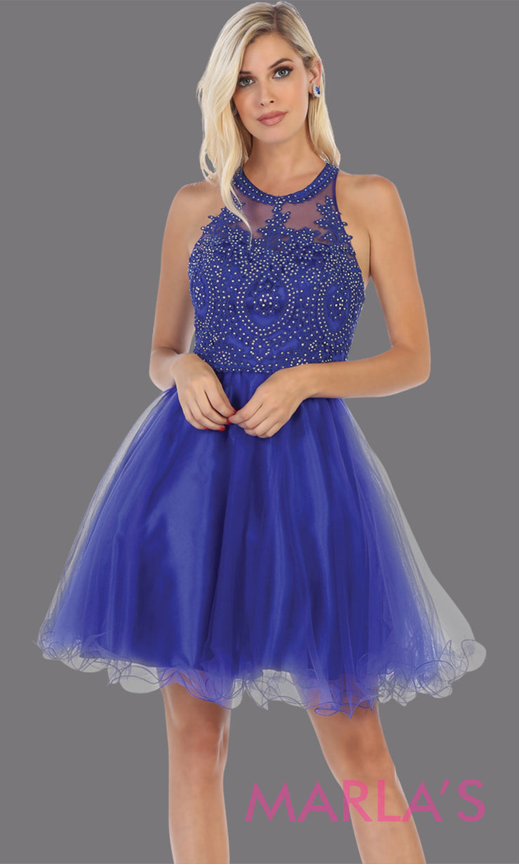 Short high neck royal blue grade 8 graduation dress with puffy skirt from mayqueen.This blue high neck ballerina dress is perfect for grade 8 grad, homecoming,Bat Mitzvah,quinceanera damas,middle school graduation,plus size,junior bridesmaids