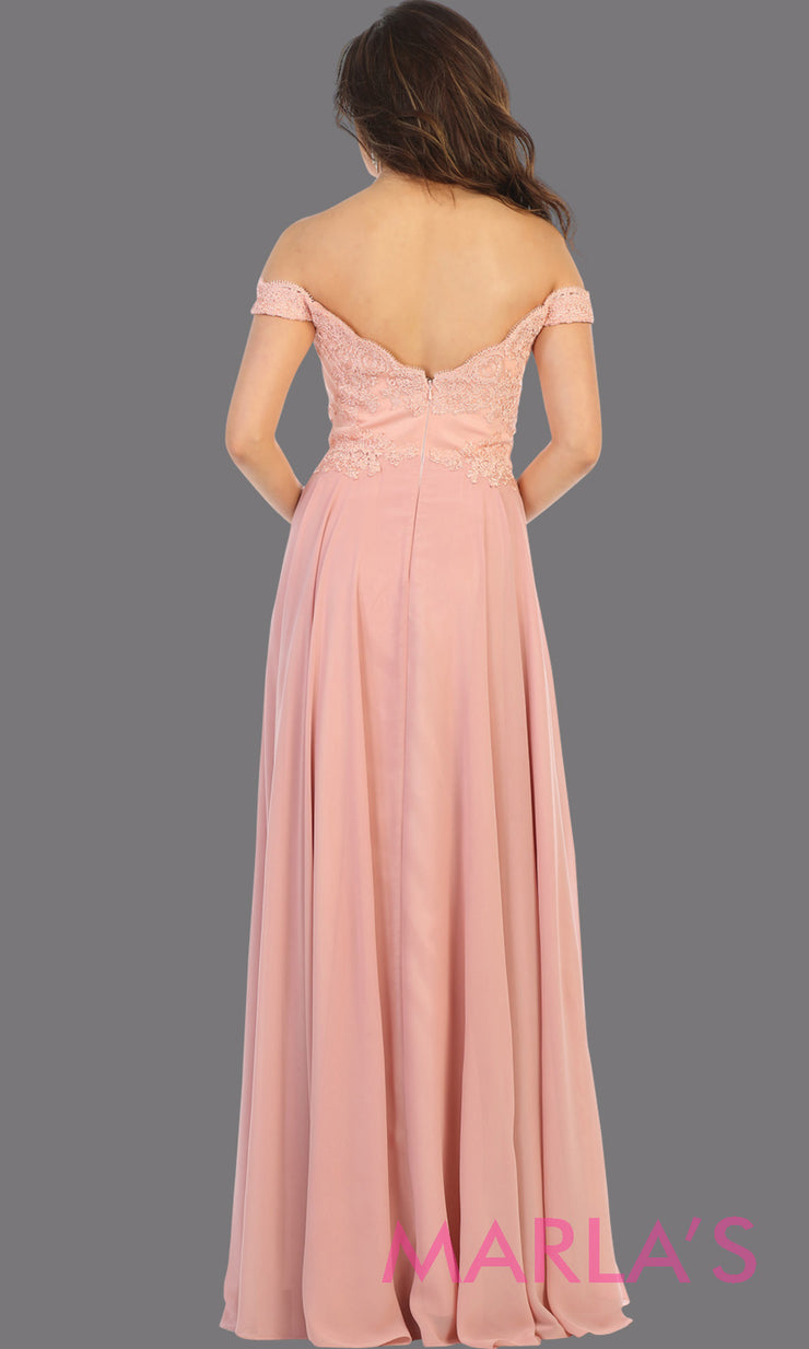 Back of Long flowy blush pink off shoulder dress with lace top from mayqueen. Light pink evening gown is perfect for bridesmaids, simple wedding guest dress, formal party,plus size wedding guest dress,modest gown,indowestern gown, mother of the bride