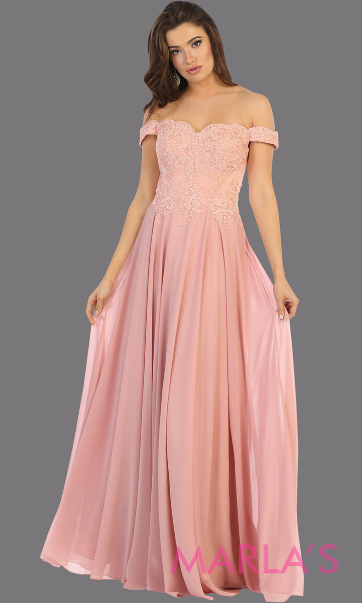Long flowy blush pink off shoulder dress with lace top from mayqueen. Light pink evening gown is perfect for bridesmaids, simple wedding guest dress, formal party,plus size wedding guest dress,modest gown,indowestern gown, mother of the bride