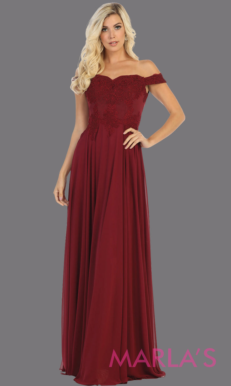 Long flowy burgundy off shoulder dress with lace top from mayqueen. Dark red evening gown is perfect for bridesmaids, simple wedding guest dress, formal party, plus size wedding guest dress, modest gown, indowestern gown, mother of the bride