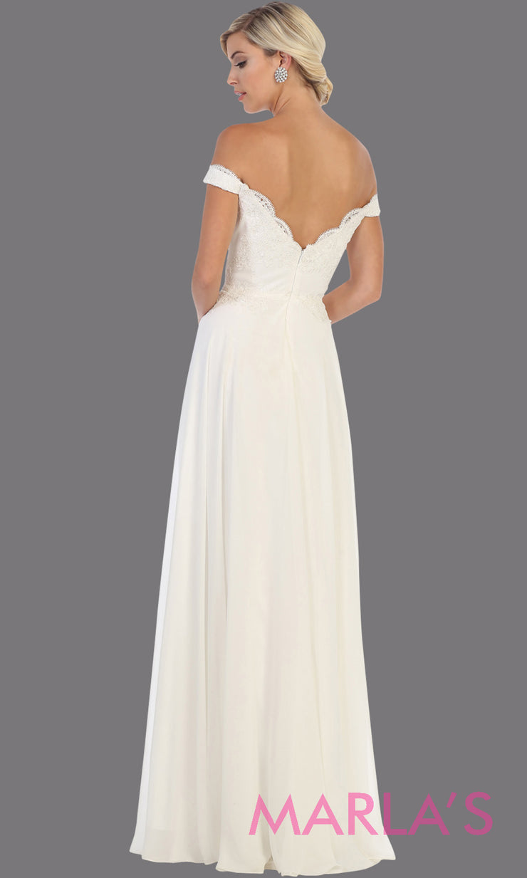 Back of Long flowy ivory off shoulder dress with lace top from mayqueen. Simple ivory evening gown is perfect for bridesmaids, simple wedding gown, plus size wedding dress, civil bridal dress, second wedding dress, prom.jpg