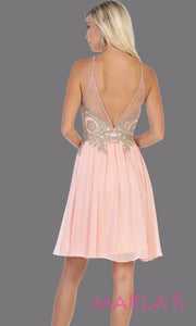 Back of Short high neck blush pink grade 8 graduation dress with flowy skirt from mayqueen. This light pink low back flowy dress is perfect for plus size grad, homecoming, Bat Mitzvah, quinceanera damas, middle school graduation, junior bridesmaids