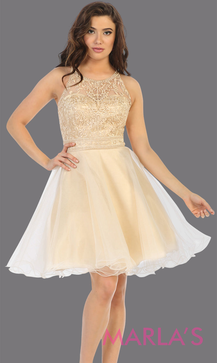 Short high neck champagne gold grade 8 graduation dress with puffy skirt from mayqueen.This light gold cross back dress is perfect for plus size grad, homecoming, Bat Mitzvah, quinceanera damas, middle school graduation, junior bridesmaids
