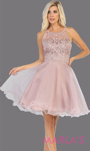 Short high neck mauve grade 8 graduation dress with puffy skirt from mayqueen. This dusty rose cross back dress is perfect for plus size grad, homecoming, Bat Mitzvah, quinceanera damas, middle school graduation, junior bridesmaids