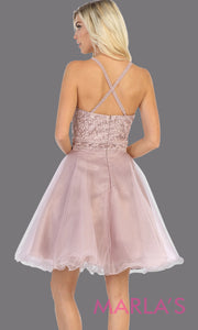 Back of Short high neck mauve grade 8 graduation dress with puffy skirt from mayqueen. This dusty rose cross back dress is perfect for plus size grad, homecoming, Bat Mitzvah, quinceanera damas, middle school graduation, junior bridesmaids