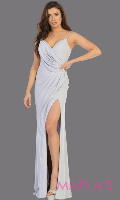 Long sleek & sexy silver evening dress with high slit & v neck dress from mayqueen. This light grey fitted evening tight fitted gown with high slit is perfect for prom, wedding guest dress, guest for prom, formal party, gala, black tie party