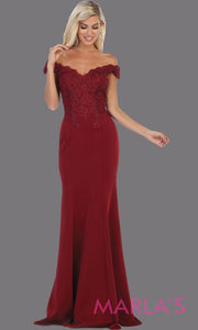 Long sleek & sexy burgundy red evening mermaid dress & lace off shoulder top from mayqueen. This dark red tight fitted evening party gown is perfect for prom, wedding guest dress, guest for prom, formal party, gala, black tie party