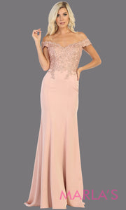 Long sleek & sexy champagne gold evening mermaid dress & lace off shoulder top from mayqueen. This light gold tight fitted evening party gown is perfect for prom, wedding guest dress, guest for prom, formal party, gala, black tie party.jpg