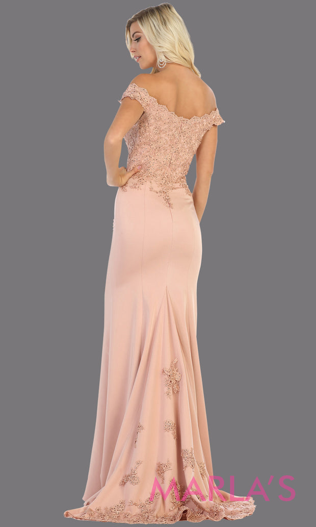 Back of Long sleek & sexy champagne gold evening mermaid dress & lace off shoulder top from mayqueen. This light gold tight fitted evening party gown is perfect for prom, wedding guest dress, guest for prom, formal party, gala, black tie party.jpg