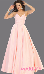 Long simple v neck blush pink satin semi ballgown with pockets. This light pink flowy gown from mayqueen is perfect for prom, black tie event, engagement dress, formal party dress, plus size wedding guest dresses, pink indowestern party dress