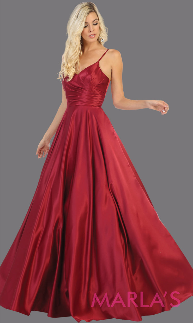 Long simple v neck burgundy red satin semi ballgown with pockets. This dark red flowy gown from mayqueen is perfect for prom, black tie event, engagement dress, formal party dress, plus size wedding guest dresses, indowestern party dress