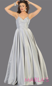 Long simple v neck silver satin semi ballgown with pockets. This light grey flowy gown from mayqueen is perfect for prom, black tie event, engagement dress, formal party dress, plus size wedding guest dresses, gray indowestern party dress