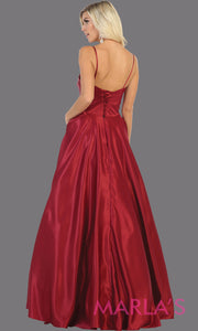 Back of Long simple v neck burgundy red satin semi ballgown with pockets. This dark red flowy gown from mayqueen is perfect for prom, black tie event, engagement dress, formal party dress, plus size wedding guest dresses, indowestern party dress