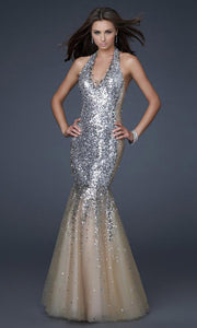 La Femme - 16804 Sequined Halter Sparkly Tulle Trumpet Gown In Champagne & Gold