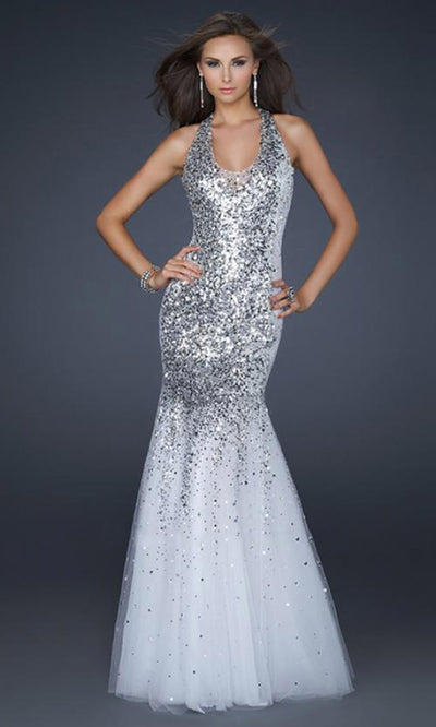 La Femme - 16804 Sequined Halter Sparkly Tulle Trumpet Gown In White & Ivory