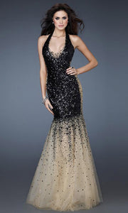 La Femme - 16804 Sequined Halter Sparkly Tulle Trumpet Gown In Black