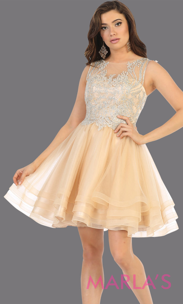 Short high neck champagne grade 8 graduation dress with flowy skirt.This light gold lace back from mayqueen is perfect for grade 8 grad, homecoming, Bat Mitzvah, quinceanera damas, middle school graduation,junior bridesmaids, plus sizes girls