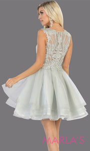 Back of Short high neck silver grade 8 graduation dress with flowy skirt. This light grey lace back from mayqueen is perfect for grade 8 grad, homecoming, Bat Mitzvah, quinceanera damas, middle school graduation, junior bridesmaids, plus sizes girls