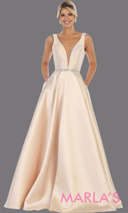Long simple v neck champagne semi ballgown with pockets. This light gold flowy gown from mayqueen is perfect for prom, black tie event, engagement dress, formal party dress, plus size wedding guest dresses, bridesmaid, indowestern party dress