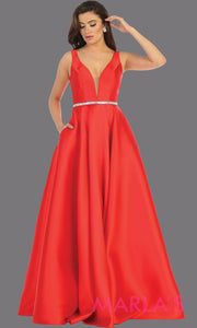Long simple v neck red semi ballgown with pockets. This red flowy gown from mayqueen is perfect for prom, black tie event, engagement dress, formal party dress, plus size wedding guest dresses, bridesmaid, indowestern party dress