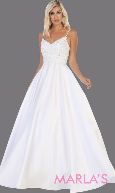 Long simple v neck white semi ballgown with pockets.This white flowy gown from mayqueen is perfect for prom, simple wedding dress, engagement dress, bridal gown, second wedding, plus size wedding bridal gown, indowestern party dress