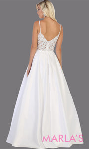 Back of Long simple v neck white semi ballgown with pockets.This white flowy gown from mayqueen is perfect for prom, simple wedding dress, engagement dress, bridal gown, second wedding, plus size wedding bridal gown, indowestern party dress