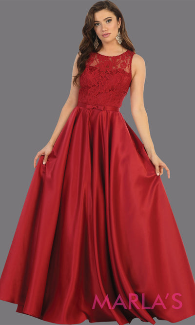 Long simple high neck burgundy semi ballgown with pockets.Flowy dark red gown from mayqueen is perfect for prom, black tie event, engagement dress, formal party dress, plus size wedding guest dresses, bridesmaid, indowestern party dress
