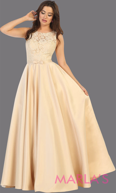Long simple high neck champagne semi ballgown with pockets.Flowy light gold gown from mayqueen is perfect for prom, black tie event, engagement dress, formal party dress, plus size wedding guest dresses, bridesmaid, indowestern party dress