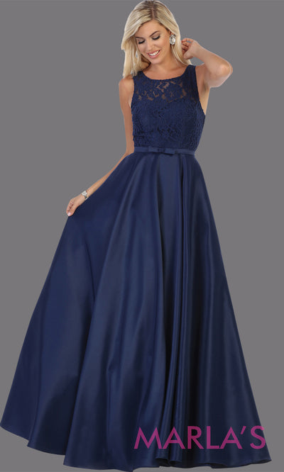 Long simple high neck navy blue semi ballgown with pockets.Flowy dark blue gown from mayqueen is perfect for prom, black tie event, engagement dress, formal party dress, plus size wedding guest dresses, bridesmaid, indowestern party dress