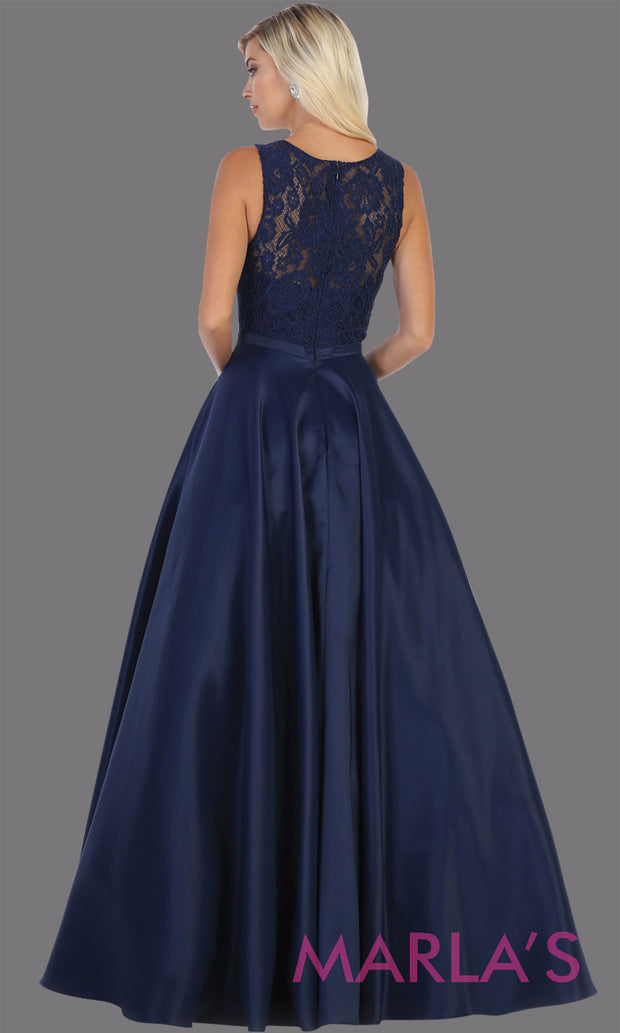 Back of Long simple high neck navy blue semi ballgown with pockets.Flowy dark blue gown from mayqueen is perfect for prom, black tie event, engagement dress, formal party dress, plus size wedding guest dresses, bridesmaid, indowestern party dress