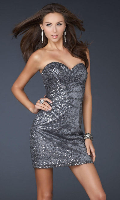 La Femme - 17039 Sequined Sweetheart Fitted Dress In Gray